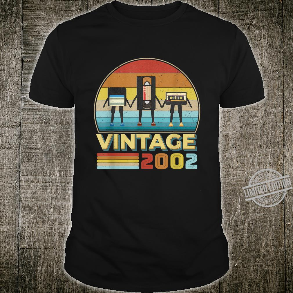 18 Years Old Birthday Vintage 2002 Retro Music Cassette Shirt