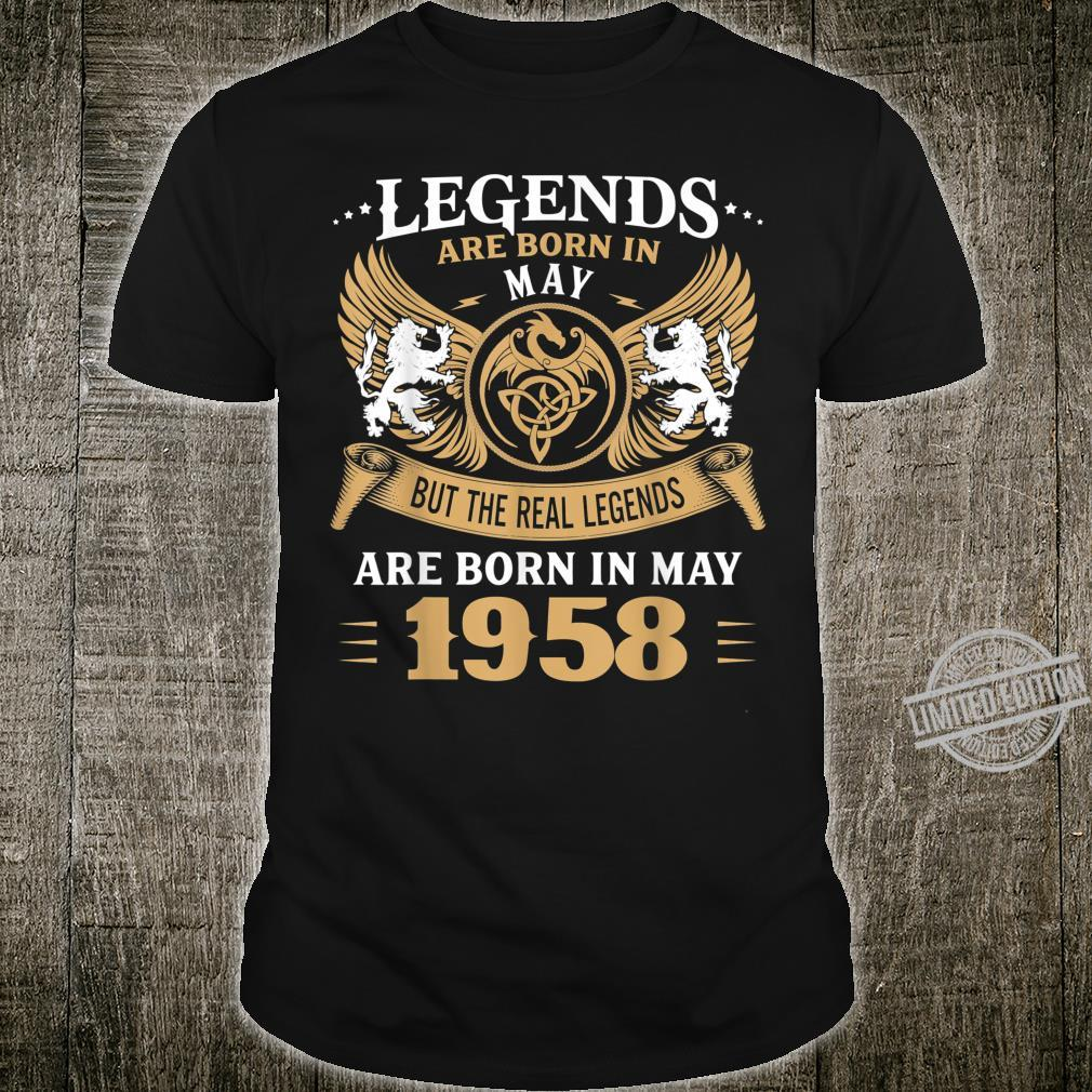 62 Years Old Legends 62nd Birthday Born in May 1958 Shirt