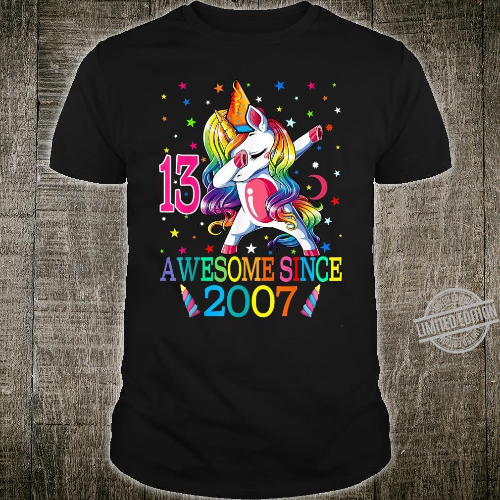 Awesome Since 2007 Dabbing Unicorn 13rd Birthday Girls Shirt