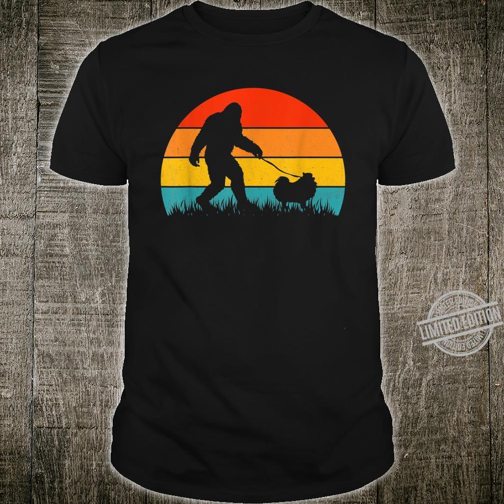 Bigfoot Walking Retro Sunset Off Sasquatch & Pomeranian Dog Shirt