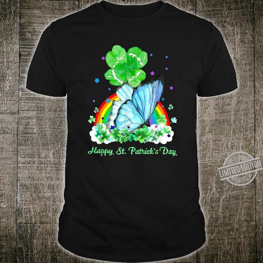 Butterfly Holding Shamrock Stars Cute St Patrick's Day Shirt