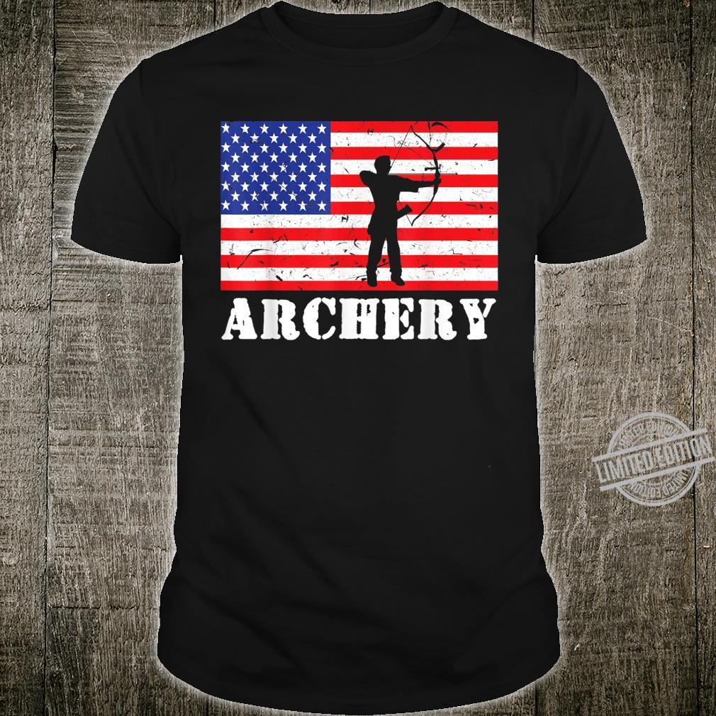 Distressed Archery USA American Flag Archer Player Vintage Shirt