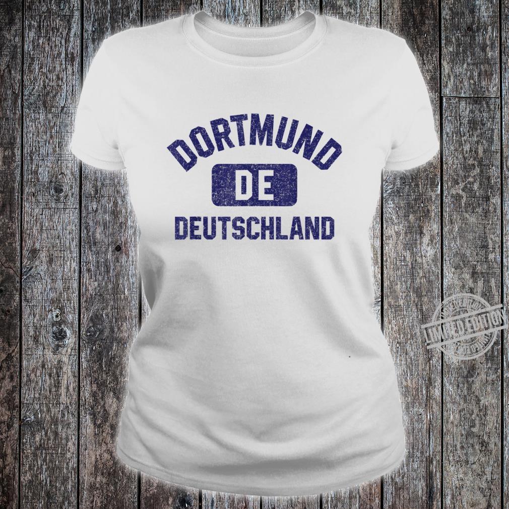 Dortmund DE Turnhall Stil Marineblau Vintage Druck Shirt ladies tee