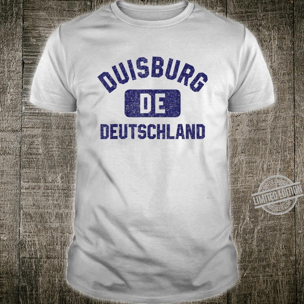 Duisburg DE Turnhall Stil Marineblau Vintage Druck Shirt