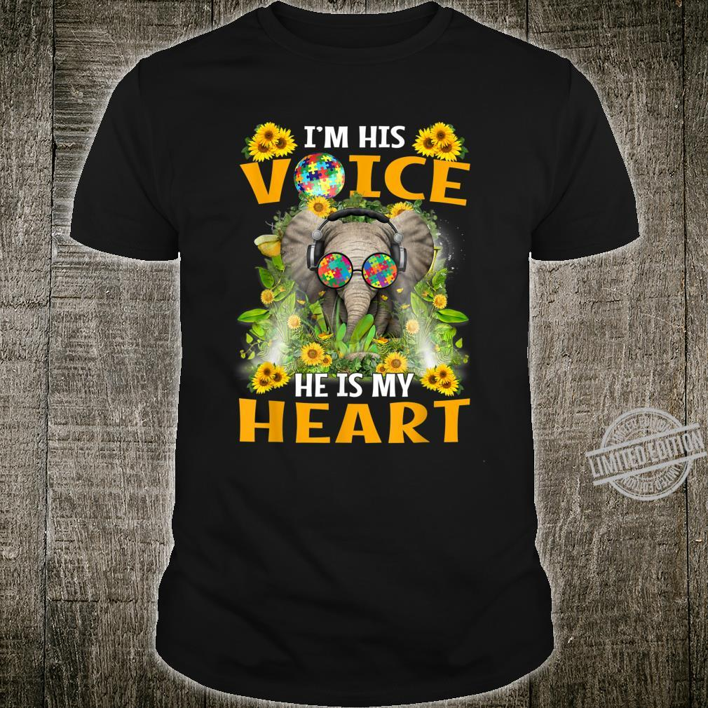 Funny Autism Awareness Elephant I'm His Voice He Is My Heart Shirt