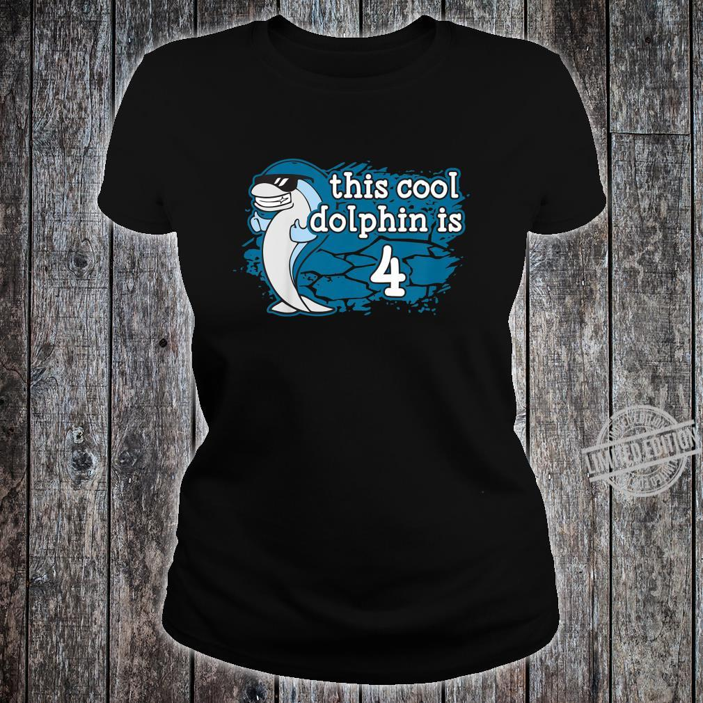 Kids Kid's 4th Fourth Birthday This Cool Dolphin is Four Porpoise Shirt ladies tee