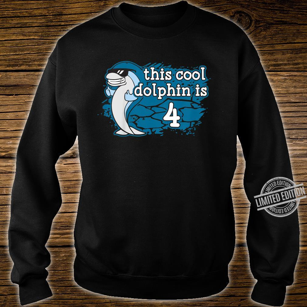 Kids Kid's 4th Fourth Birthday This Cool Dolphin is Four Porpoise Shirt sweater