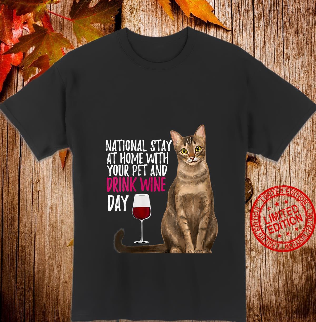 Womens National Stay At Home Quarantine Wine Cat Shirt