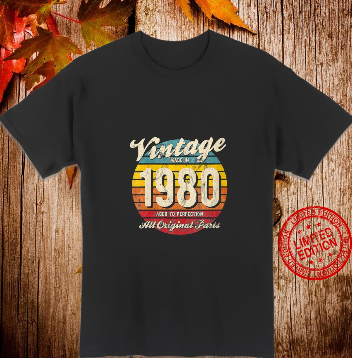 Womens Vintage Sunset 40th Birthday Made In 1980 Aged Perfection r8 Shirt